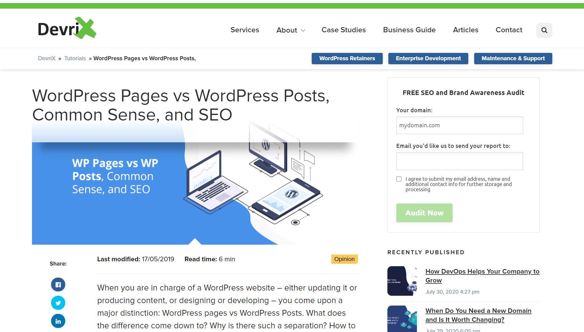 WordPress Pages vs WordPress Posts Common Sense and SEO